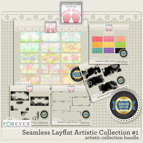 Seamless Layflat Artistic Collection #1 Bundle Digital Art - Digital Scrapbooking Kits