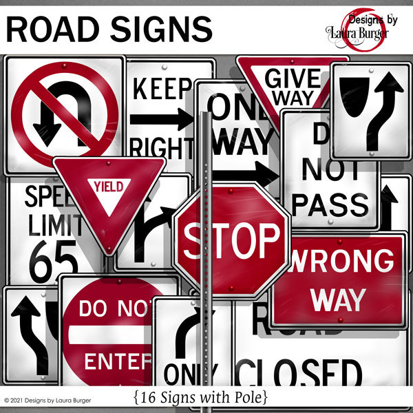 Road Signs Digital Art - Digital Scrapbooking Kits