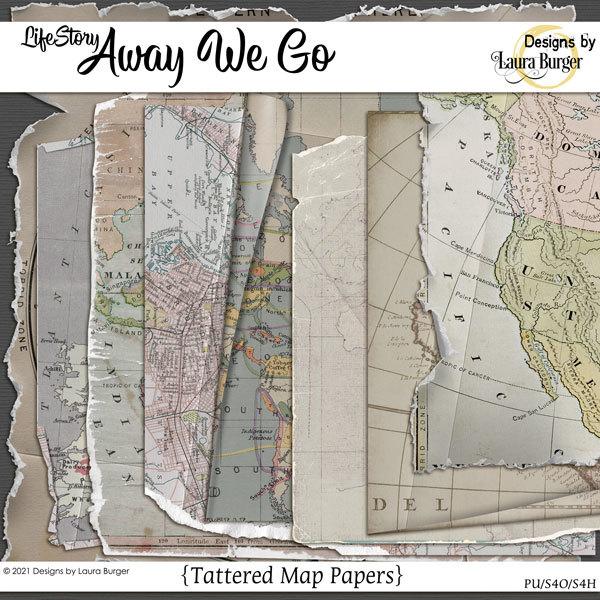 Life Story Away We Go - Tattered Map Papers Digital Art - Digital Scrapbooking Kits