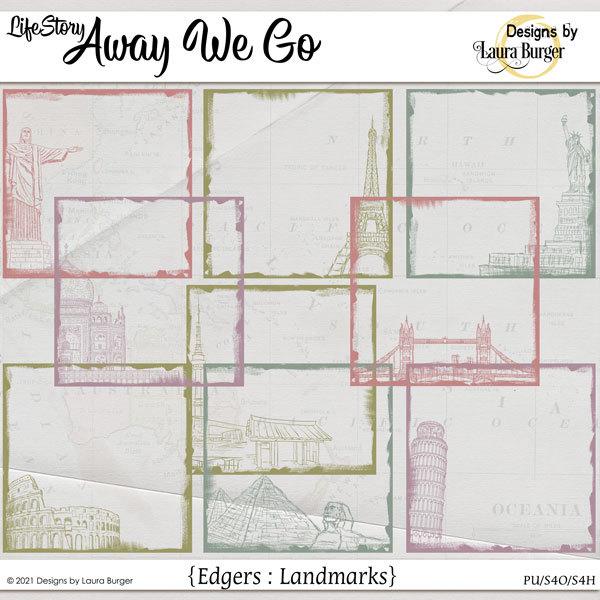 Life Story-Away We Go Travel Edgers Digital Art - Digital Scrapbooking Kits