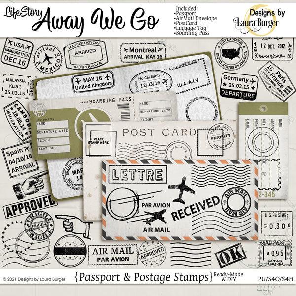 Life Story-Away We Go Travel Stamps Digital Art - Digital Scrapbooking Kits
