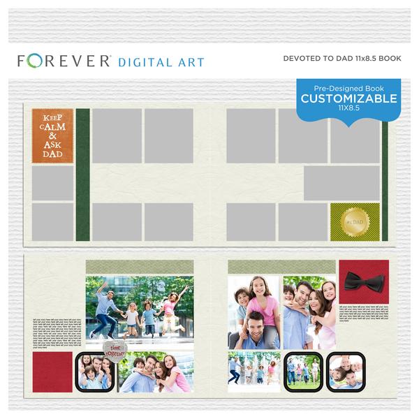 Devoted To Dad Pre-Designed Book 11x8.5 Digital Art - Digital Scrapbooking Kits