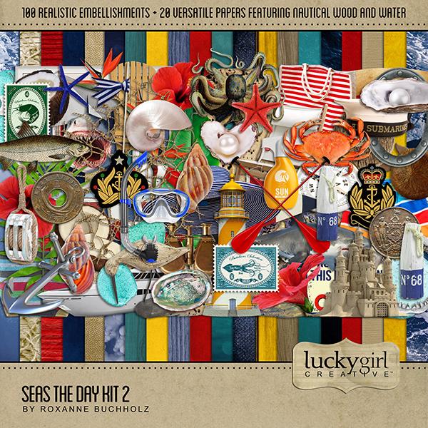 Seas the Day Kit 2 Digital Art - Digital Scrapbooking Kits