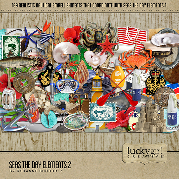 Seas the Day Elements 2 Digital Art - Digital Scrapbooking Kits