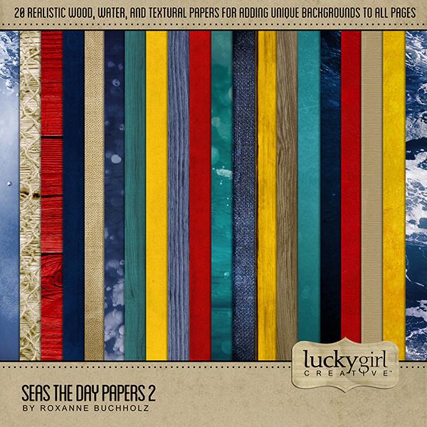 Seas the Day Papers 2 Digital Art - Digital Scrapbooking Kits
