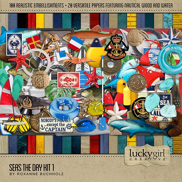Seas the Day Kit 1 Digital Art - Digital Scrapbooking Kits