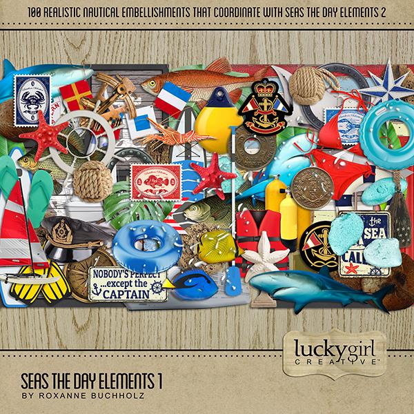 Seas the Day Elements 1 Digital Art - Digital Scrapbooking Kits