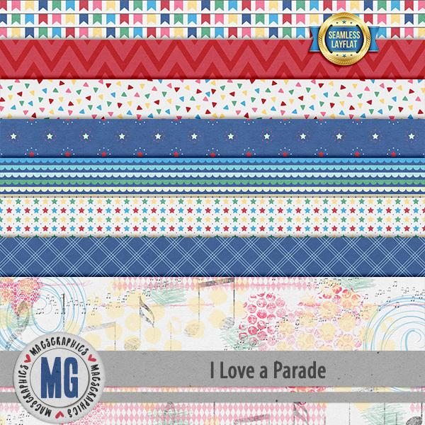 I Love A Parade SLF Papers Digital Art - Digital Scrapbooking Kits