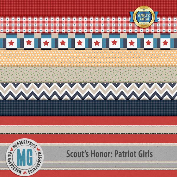 Patriot Girls SLF Papers Digital Art - Digital Scrapbooking Kits