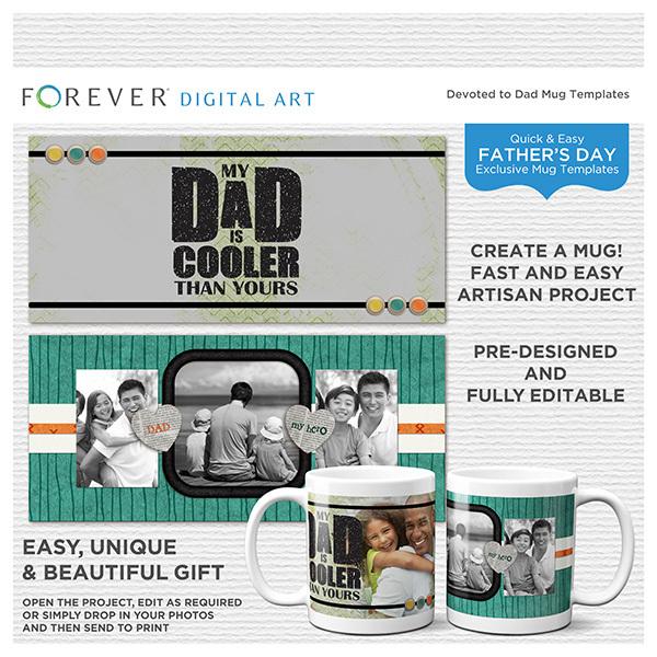 Devoted To Dad Mug Templates Digital Art - Digital Scrapbooking Kits