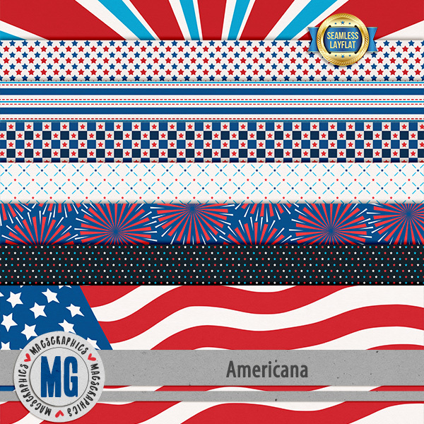 Americana SLF Papers Digital Art - Digital Scrapbooking Kits