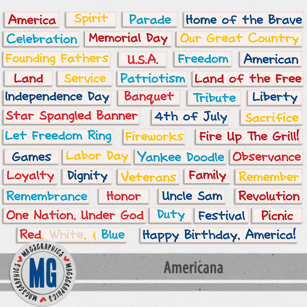 Americana Word Tags Digital Art - Digital Scrapbooking Kits