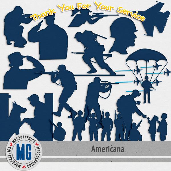 Americana Military Pack Digital Art - Digital Scrapbooking Kits