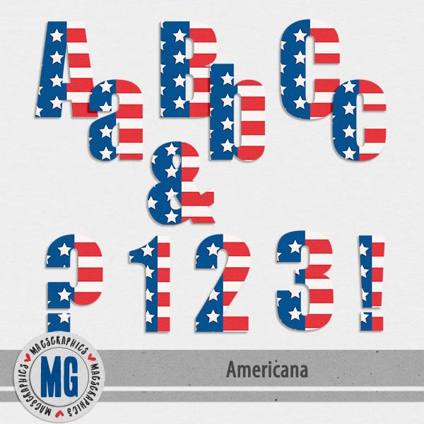 Americana Alpha Pack Digital Art - Digital Scrapbooking Kits