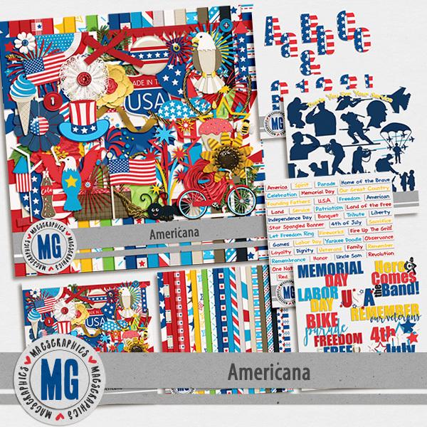 Americana Bundle Pack Digital Art - Digital Scrapbooking Kits
