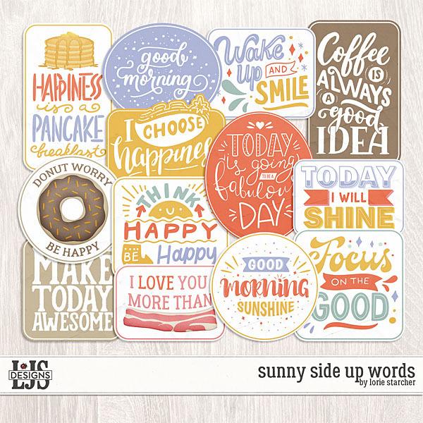 Sunny Side Up Words Digital Art - Digital Scrapbooking Kits