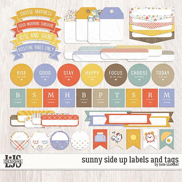 Sunny Side Up Labels And Tags Digital Art - Digital Scrapbooking Kits