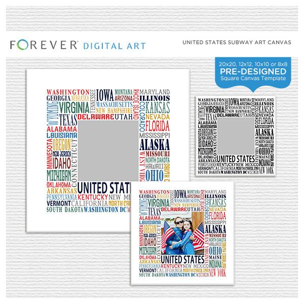 United States Subway Art Canvas Digital Art - Digital Scrapbooking Kits