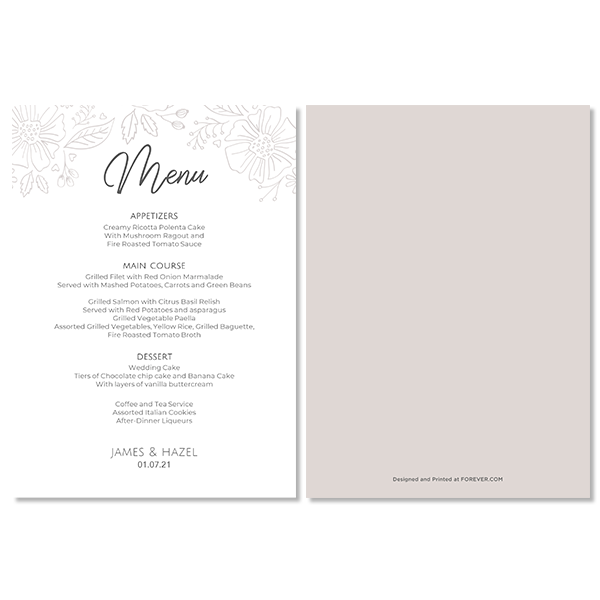 Always & Forever Wedding Menu Card Card