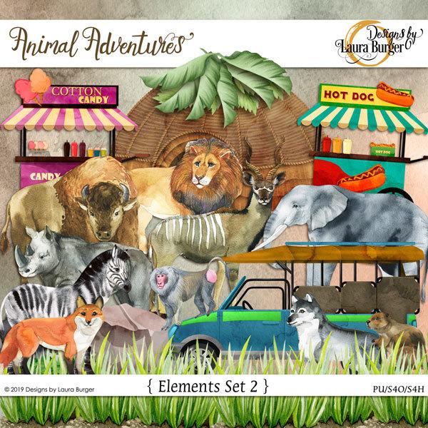 Animal Adventures Elements Set 2 Digital Art - Digital Scrapbooking Kits