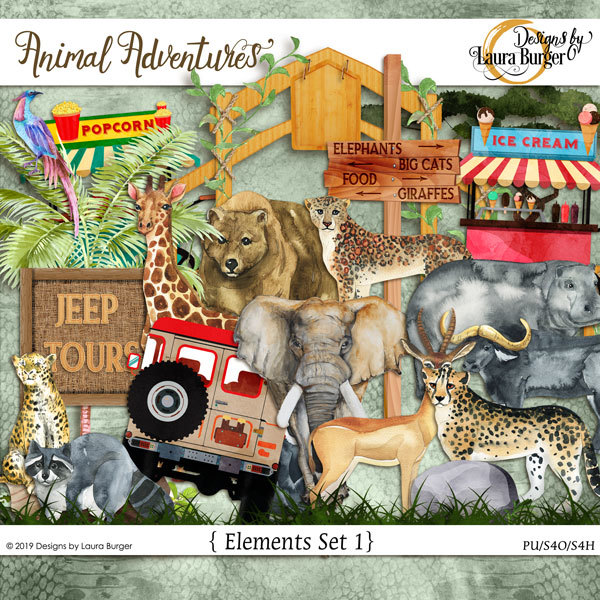 Animal Adventures Elements Set 1 Digital Art - Digital Scrapbooking Kits