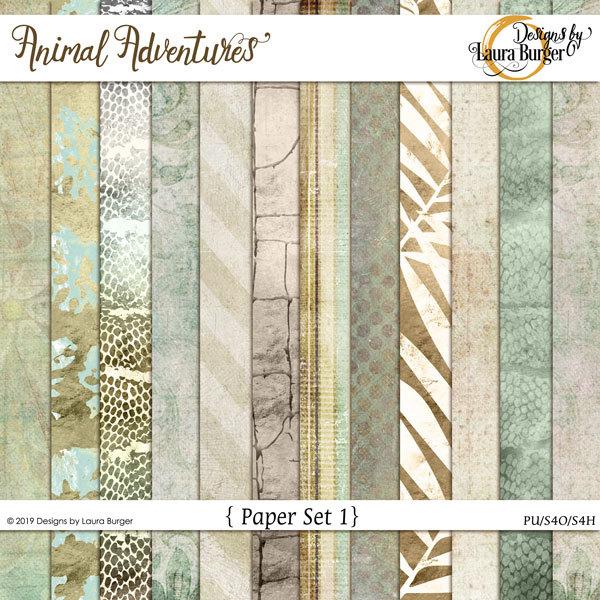 Animal Adventures Pattern Papers Digital Art - Digital Scrapbooking Kits