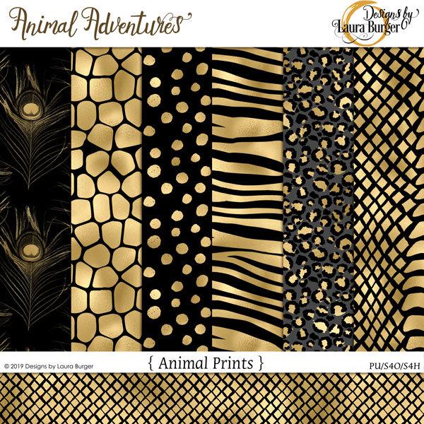 Animal Adventures Black and Gold Papers Digital Art - Digital Scrapbooking Kits