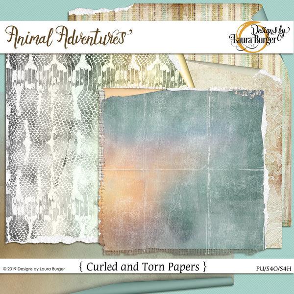 Animal Adventures Curled Papers Digital Art - Digital Scrapbooking Kits