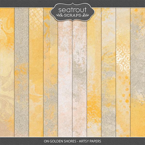 On Golden Shores - Artsy Papers Digital Art - Digital Scrapbooking Kits