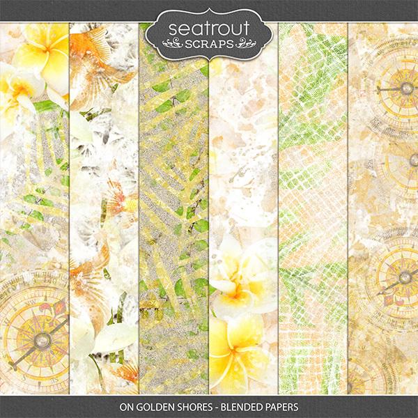 On Golden Shores - Blended Papers Digital Art - Digital Scrapbooking Kits