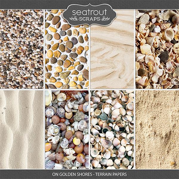 On Golden Shores - Terrain Papers Digital Art - Digital Scrapbooking Kits