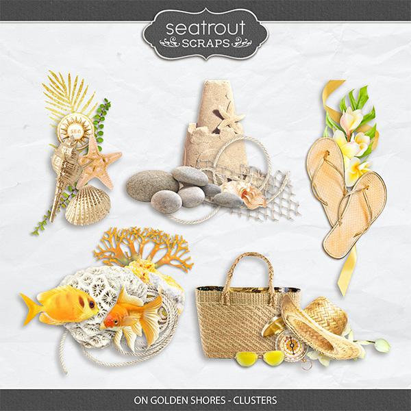 On Golden Shores - Clusters Digital Art - Digital Scrapbooking Kits