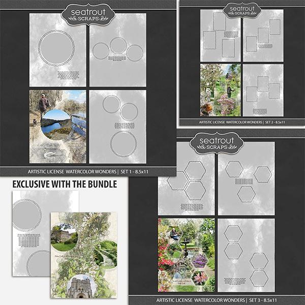Artistic License Watercolor Wonders Bonus Bundle 1 - 8.5x11 Digital Art - Digital Scrapbooking Kits