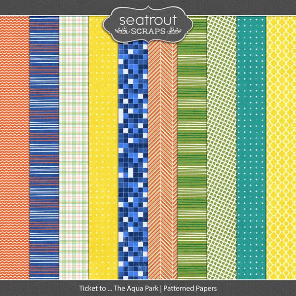 Ticket to ... The Aqua Park Patterned Papers Digital Art - Digital Scrapbooking Kits