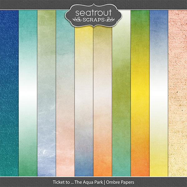 Ticket to ... The Aqua Park Ombre Papers Digital Art - Digital Scrapbooking Kits