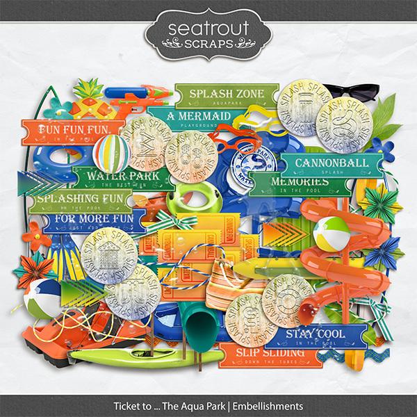Ticket to ... The Aqua Park Embellishments Digital Art - Digital Scrapbooking Kits