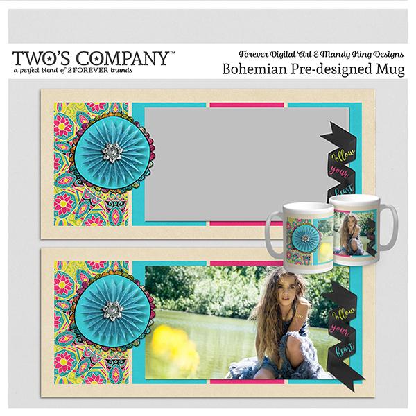 Bohemian Pre-designed Mug Digital Art - Digital Scrapbooking Kits