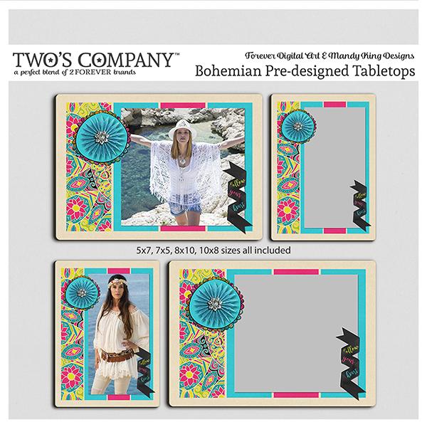 Bohemian Pre-designed Tabletops Digital Art - Digital Scrapbooking Kits