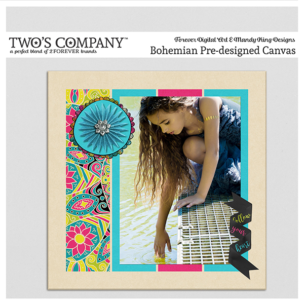 Bohemian Pre-designed Canvas Digital Art - Digital Scrapbooking Kits