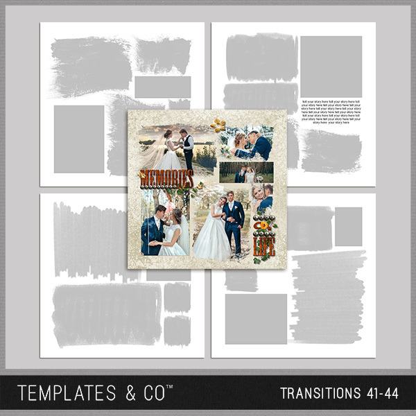 Transitions 41-44 Digital Art - Digital Scrapbooking Kits