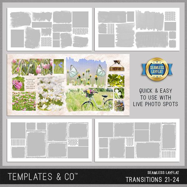 Seamless Layflat Transitions 21-24 Digital Art - Digital Scrapbooking Kits