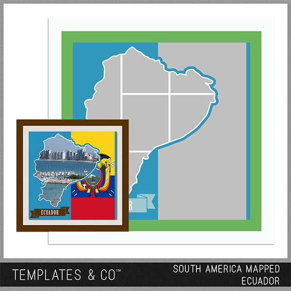 South America Mapped - Ecuador Digital Art - Digital Scrapbooking Kits