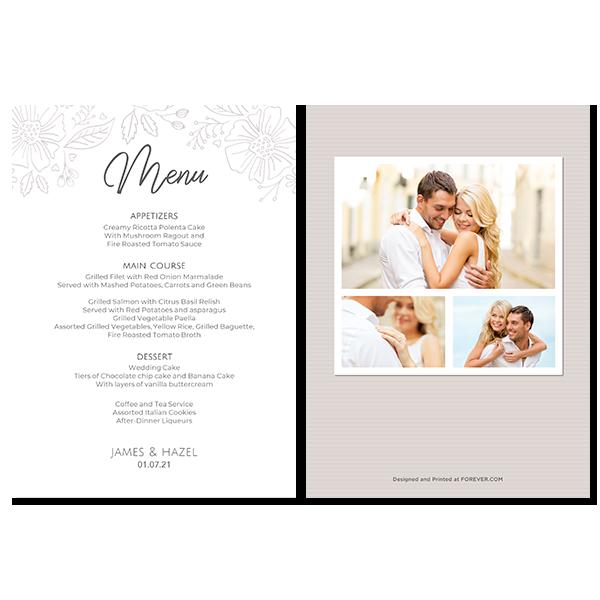 Always & Forever Wedding Menu Card