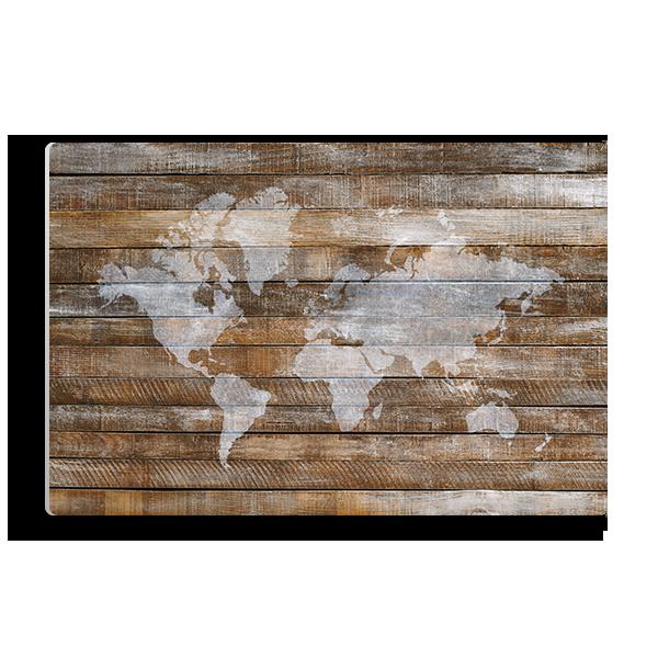 World Map Dark Wood Panel Panel