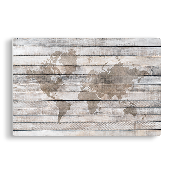 World Map Light Wood Panel