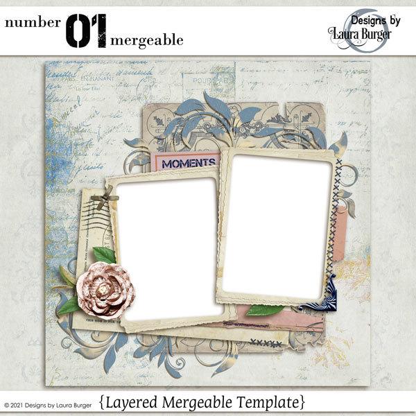Number 01 Mergeable Digital Art - Digital Scrapbooking Kits