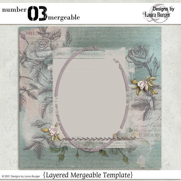Number 03 Mergeable Digital Art - Digital Scrapbooking Kits