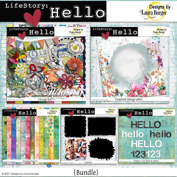 LifeStory - Hello Bundle Digital Art - Digital Scrapbooking Kits