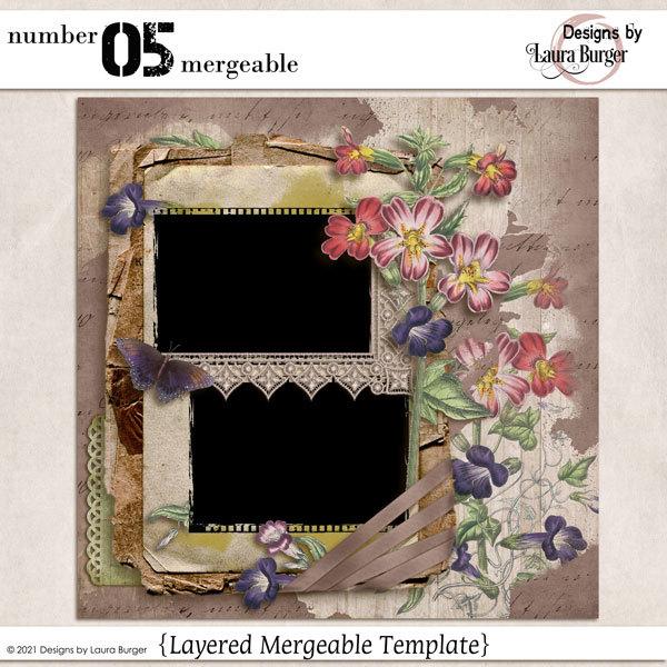 Number 05 Mergeable Digital Art - Digital Scrapbooking Kits