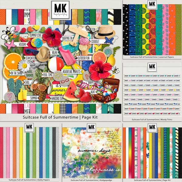 Suitcase Full Of Summertime - Bundle Digital Art - Digital Scrapbooking Kits